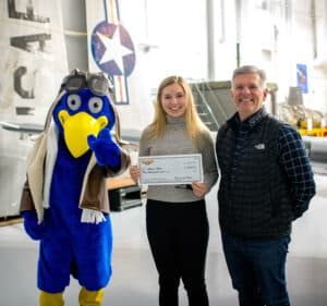 Alyssa Voit - 2021 Dubay Scholarship winner with the check, Buzz and Bob Jasperson