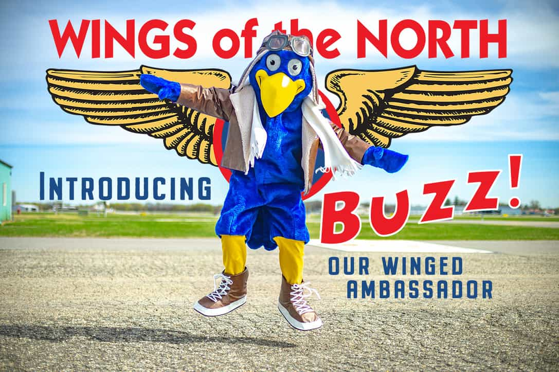 Buzz our blue and gold Wings of the North ambassador AirExpo2021 Flying Cloud Airport