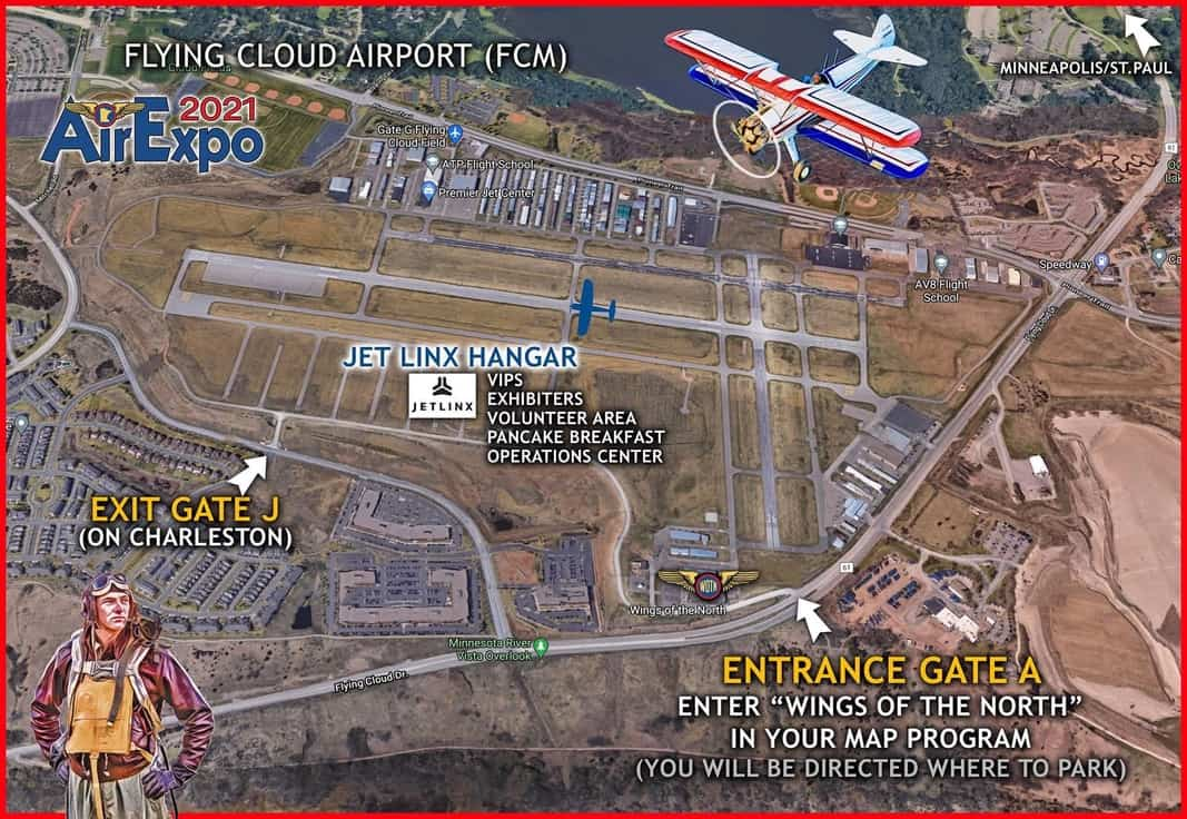AirExpo2021 Arial Map showing Entrance Gate A Jet Linx Hanger and Exit Gate J